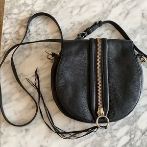 Rebecca Minkoff black crossbody with gold hardware